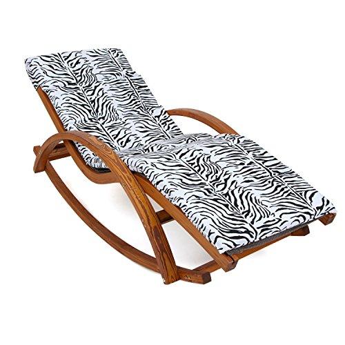 Ampel 24 Relax Schaukelstuhl Rio braun Gartenliege aus vorbehandeltem Holz wetterfest Relaxliege mit Armlehnen Auflage Stuhl Bespannung braun