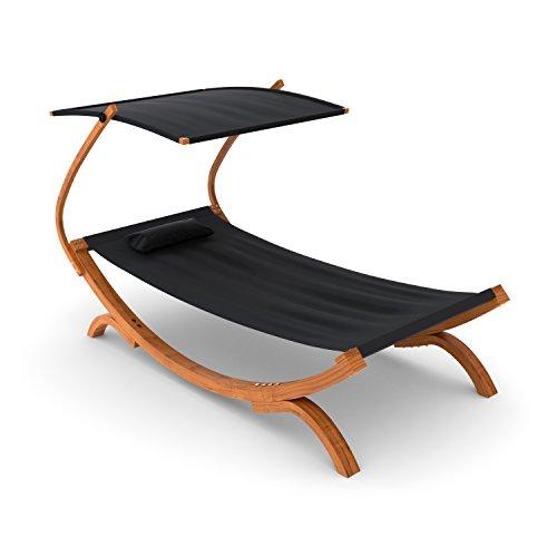 Ampel 24 Sonnenliege Panama mit Dach schwarz Gartenliege mit Holzgestell wetterfest Sonnendach verstellbar Liege mit Kissen