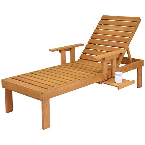 COSTWAY Sonnenliege Gartenliege Relaxliege Liegestuhl Strandliege Poolliege Holzliege Garten Liege Gartenmöbel verstellbare Rückenlehne Holz