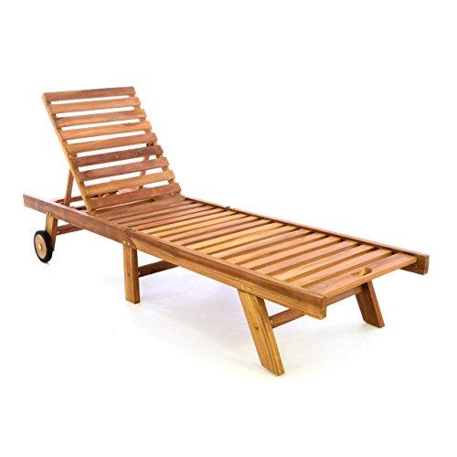 Divero GL05654 Sonnenliege Gartenliege Relaxliege Liege aus Teak Holz behandelt klappbar extra hohe Rückenlehne 5-Fach verstellbar Braun
