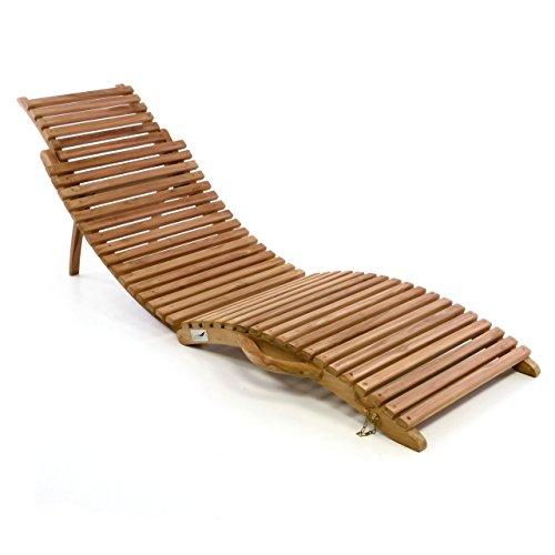 Divero Luxus Relaxliege Sonnenliege Strandliege Gartenliege aus Teak-HolzAkazie mehrfach verstellbar behandelt braun reine Handarbeit faltbar klappbar mit Tragegriff Teak