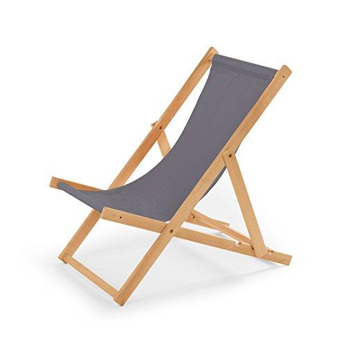 Gartenliege aus Holz Liegestuhl Relaxliege Strandstuhl Grau