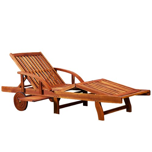 Sonnenliege Tami Sun  Akazien Holz verstellbar ausziehbarer Tisch klappbar  Gartenliege Holzliege Liege Liegestuhl