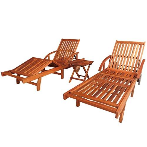 vidaXL 3-TLG Massivholz Sonnenliege Tisch Set Gartenliege Strandliege Akazie