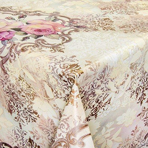 ANRO Wachstuch Wachstischdecke Tischdecke abwaschbar Rankenmuster Hellbeige 120 x 140cm