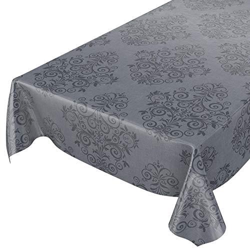 ANRO Wachstuchtischdecke Wachstuch Wachstischdecke Tischdecke abwaschbar Grau Anthrazit Rankenmuster Barock Arabeske 220 x 140cm