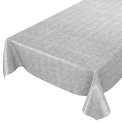 ANRO Wachstuchtischdecke Wachstuch Wachstischdecke Tischdecke abwaschbar Kariert Silber Grau 100 x 140cm