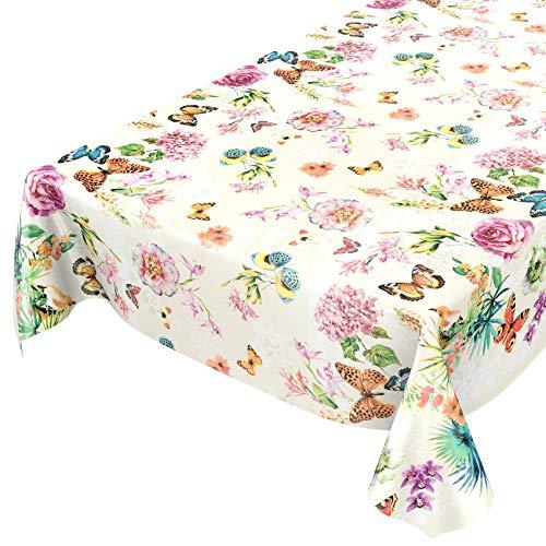 ANRO Wachstuchtischdecke Wachstuch Wachstischdecke Tischdecke abwaschbar Schmetterlinge Wiese Blumen Beige 160 x 140cm
