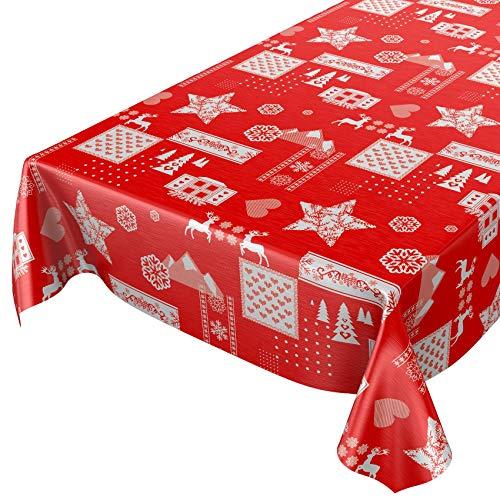 ANRO Wachstuchtischdecke Wachstuch abwaschbar Tischdecke Weihnachten Weihnachtsstimmung Rot 240 x 140cm Schnittkante