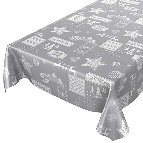 ANRO Wachstuchtischdecke Wachstuch abwaschbar Tischdecke Weihnachten Weihnachtsstimmung Silber 160 x 140cm Schnittkante