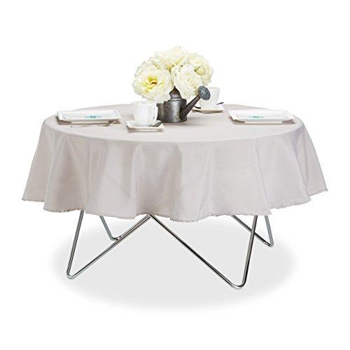 Relaxdays Tischdecke wasserabweisend pflegeleicht Polyester-Tischtuch bügelfest Gartentischdecke rund D140cm taupe
