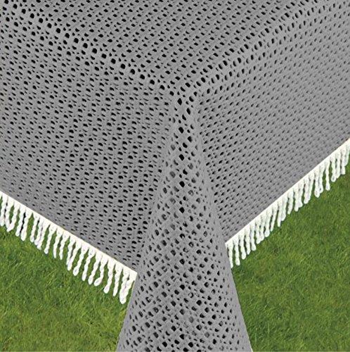 Schwar Textilien Gartentischdecke Tischdecke Weichschaummaterial Rutschfest wetterfest 4 Farben 699 Rustikal 160cm rund Grau
