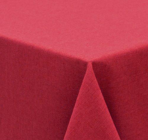 Tischdecke Leinen Optik FARBE wählbar Gartentischdecke Wasserabweisend Rund 160 cm Bordeaux Rot Beautex