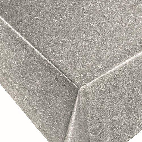 ANRO Wachstuch Wachstischdecke Tischdecke Wachstuchtischdecke Reliefdruck Silber Rosen Rund 140cm