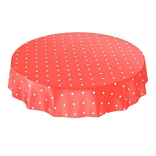 ANRO Wachstuchtischdecke Wachstuch Wachstischdecke Tischdecke Punkte Gepunktet Dots Tupfen Rot Rund 140cm