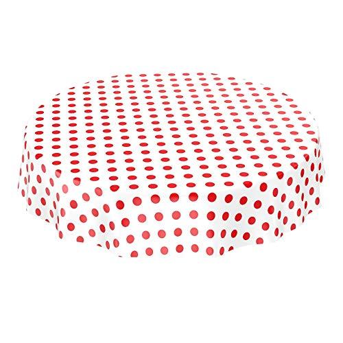 ANRO Wachstuchtischdecke Wachstuch Wachstischdecke Tischdecke Rot Weiß Tupfen Punkte Gepunktet Dots Rund 140cm