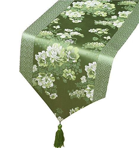 Chinesische klassische Tischläufer Traditionelle Satin Tischdecke-Grün Peony