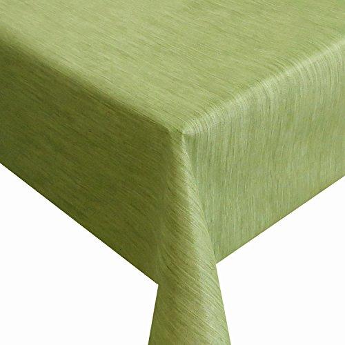 Wachstuch Robuste Leinen Prägung Pro RUND OVAL ECKIG Breite Länge wählbar Grün Eckig 150 x 250 cm abwaschbare Tischdecke Gartentischdecke
