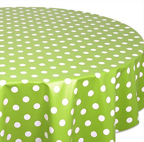 Wachstuchtischdecke OVAL RUND ECKIG Farbe u Größe wählbar Tischdecke Wachstuch abwischbar Punkte Grün Rund 140 cm