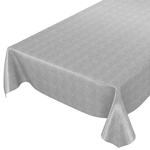 ANRO Tischdecke Leinenoptik Textiloptik Wachstuch Grau 240 x 140 cm