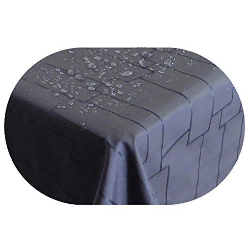 Stofftischdecke Farbe und Größe wählbar - Royal Steine TEFLON Oval ca 155 x 220 cm Grau Anthrazit Tischdecke  Kein Wachstuch  Gartentischdecke