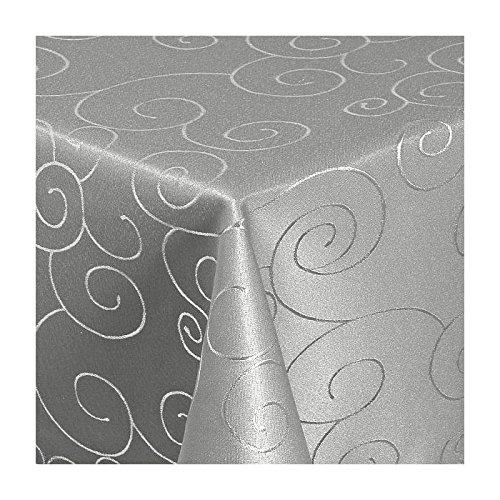 TEXMAXX Damast Tischdecke Maßanfertigung im Ornamente-Design in grau-silber 140x320 cm eckig weitere Längen sind wählbar