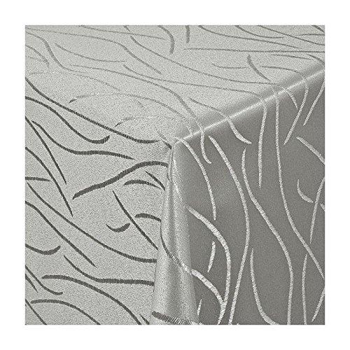 TEXMAXX Damast Tischdecke Maßanfertigung im Streifen-Design in grau-silber 130x200 cm eckig weitere Längen und Farben wählbar