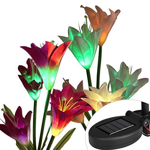 uipong 2 Stück Solarbetriebene Gartenleuchten mit 8 Lilienblumen wasserdichte Gartendekorationen Lichter Landschaftsbau Garten Grasland Party dekorative Rasenlampe