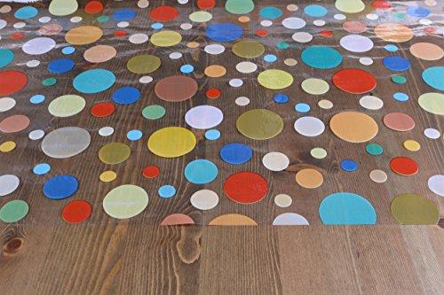 Transparente Folie bedruckt in Punkte bunt Tischdecke Tischschutz Größe wählbar 130 x 140 cm