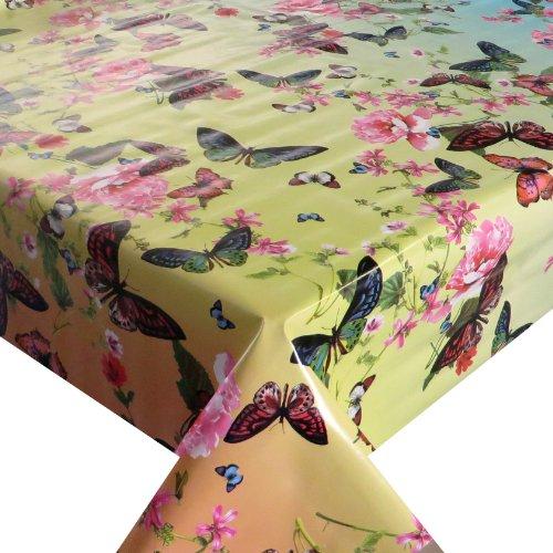 Wachstuch Breite Länge wählbar - dcfix Schmetterlinge Bunt 3854528 - ECKIG 140 x 260 bzw 260x140 cm abwaschbare Tischdecke Wachstücher Gartentischdecke