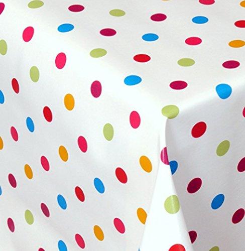 Wachstuch Dottie Bunt Kleine Punkte Eckig 110x140 cm · Länge wählbar· abwaschbare Tischdecke