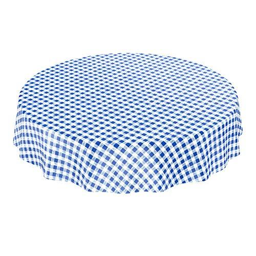 ANRO Tischdecke Wachstischdecke Wachstuch Wachstuchtischdecke Karo Klassik Meterware Blau Rund 120cm