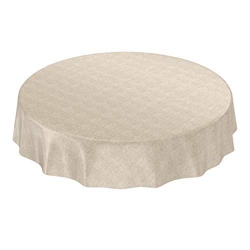 ANRO Wachstuchtischdecke Wachstuch Wachstischdecke Tischdecke abwaschbar Beige Leinenoptik Textiloptik Rund 120cm