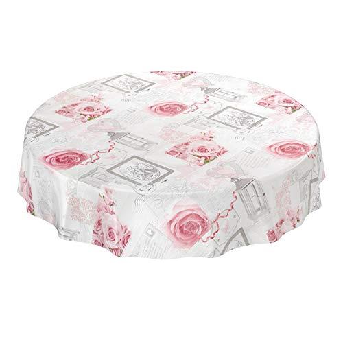 ANRO Wachstuchtischdecke Wachstuch Wachstischdecke Tischdecke abwaschbar Rosen Landhaus Antik Grau Rund 120cm Schnittkante