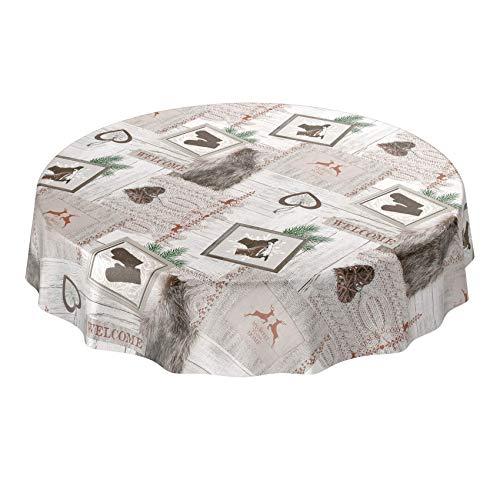 ANRO Wachstuchtischdecke Wachstuch abwaschbar Tischdecke Weihnachten Weihnachtsfest Rund 120cm Schnittkante