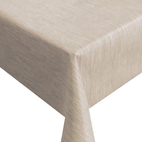Wachstuch Robuste Leinen Prägung Pro RUND OVAL ECKIG Breite Länge wählbar Beige Sand Eckig 120 x 190 cm abwaschbare Tischdecke Gartentischdecke