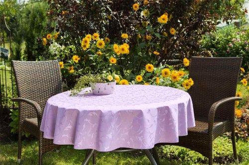 ODERTEX Hochwertige Tischdecken Farbe Größe wählbar 150 cm rund Flieder lila London aus Deutscher Produktion