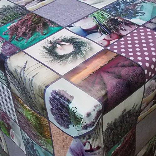 Wachstuch Purpur Lila Flieder· Eckig 85x250 cm · Länge wählbar · abwaschbare Tischdecke