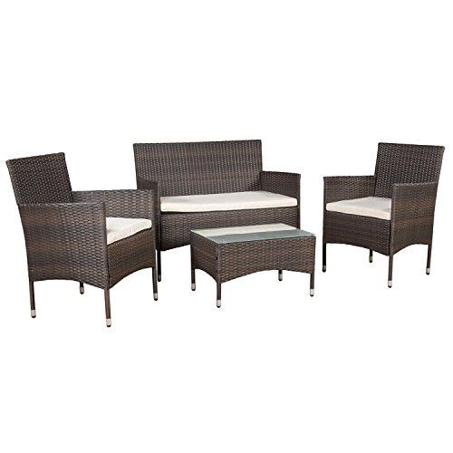 ARTLIVE Polyrattan Sitzgruppe Fort Myers braun mit cremefarbenen Kissenbezügen  Gartenmöbel-Set mit 2-er Sofa Stühlen Tisch und Sitzauflagen  Garnitur für 4 Personen