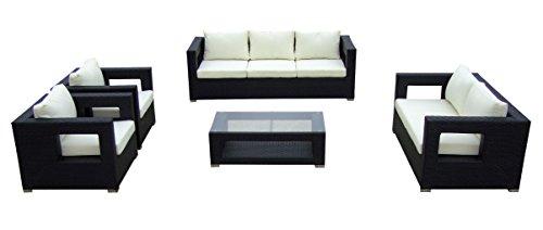 Baidani Gartenmöbel-Sets 10c0000300001 Designer Lounge-Garnitur Seaside 3-er-Sofa 2-er-Sofa 2 Sessel Sitzauflagen 1 Couch-Tisch mit Glasplatte schwarz