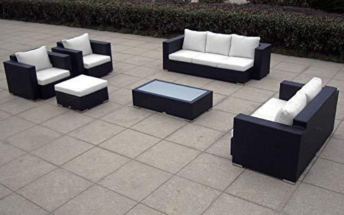 Baidani Gartenmöbel-Sets 10c0000400002 Designer Lounge-Wohnlandschaft Daylight 3-er Sofa 2-er Sofa 1 Hocker 1 Couchtisch mit Glasplatte 2 Sessel Sitzauflagen schwarz