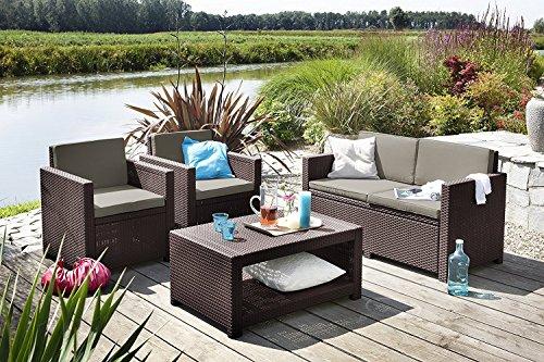 Koll Living Lounge Set Korsika in braun inkl Sitzauflagen Rückenkissen langlebiger wetterfester Kunststoff in Rattanoptik 2 Sessel  1 Sofa  Tisch