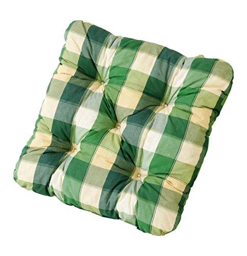 Ambientehome 2er Set Sitzkissen Sessel Evje kariert grün ca 50 x 50 x 8 cm Polsterauflage