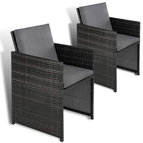 ESTEXO 2er Set Polyrattan Gartensessel Rattan Gartenstühle Sessel Stuhl Stühle Grau