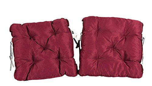 Meerweh Sitzkissen 2er Set Auflage für Sessel Nordisches Design Sitzpolster rot 500x500x100 cm 74069