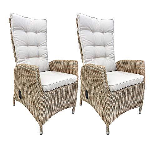 dasmöbelwerk 2er Set Polyrattan Hochlehner mit Sitzpolstern Rattan Stuhl Relax Sessel Gartenmöbel Gartenstuhl Pisa Cappuccino
