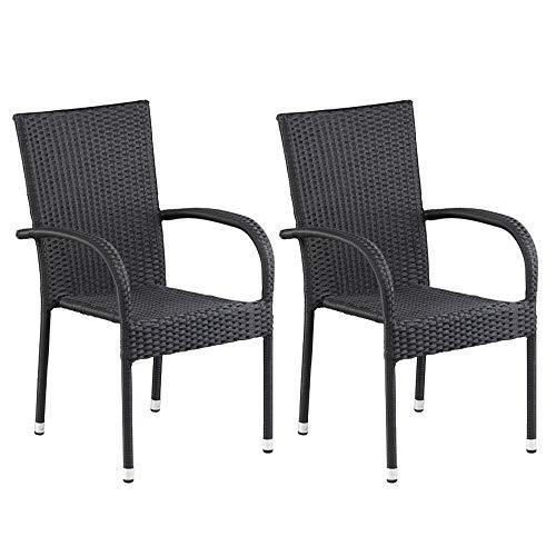 dasmöbelwerk 2er Set Polyrattan Sessel Stuhl stapelbar Rattan Gartenmöbel schwarz Palermo Stapelstuhl