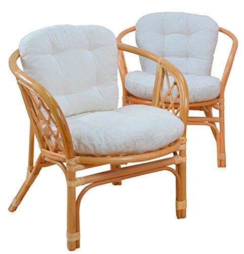 moebel direkt online 2er-Set Rattanstühle _ Rattansessel 2 Stück mit passendem Sitz- und Rückenkissen
