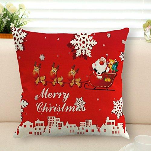 Hemore Flachs-Kissenbezug Weihnachts-Kissenbezug Kissenbezug für Schlafzimmer Sofa Stuhl Dekoration für Zuhause Büro