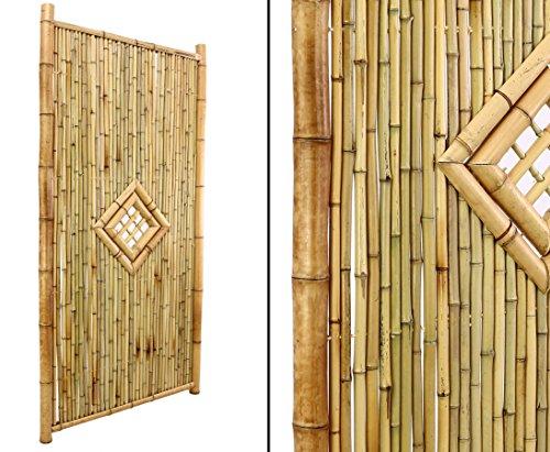 Bambuszaun  TEN New Line3 180x90cm mit Fenster Füllung und Rahmen aus natur Rohren von bambus-discountcom - Sichtschutzwand Sichtschutzelement Sichtschutz Gartenzaun Zaunelement Sichtschutzwände Gartenzäune